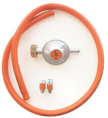 GrillMe cev za plin, 1 m, regulator, 2 objemki