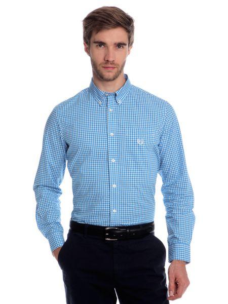 Chaps jemně kostičkovaná pánská košile XL modrá