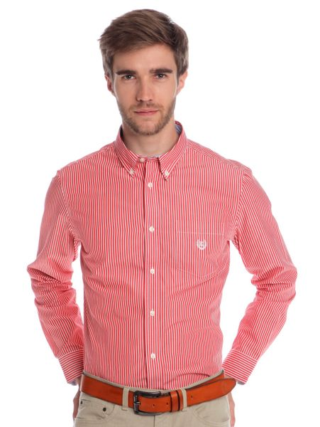 Chaps pánská proužkovaná košile L červená