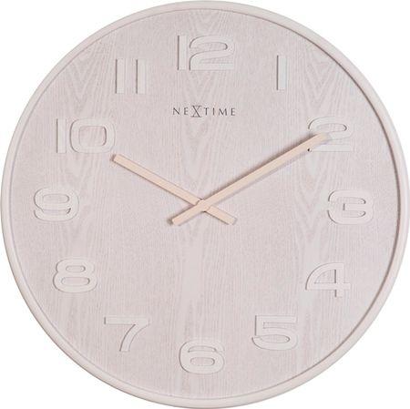 NEXTIME stenska ura s premerom 53 cm, lesena, svetla