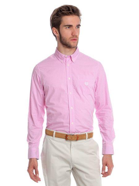 Chaps jemně kostkovaná pánská košile XXL růžová