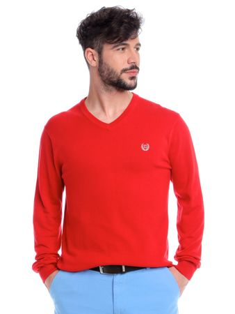 Chaps pánský svetr s výstřihem do V L červená