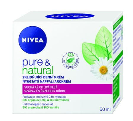 Nivea pomirjevalna dnevna krema za suho in občutljivo kožo Pure & Natural, 50 ml