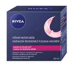 Nivea Výživný regeneračný nočný krém na suchú a citlivú pleť Aqua Effect 50 ml