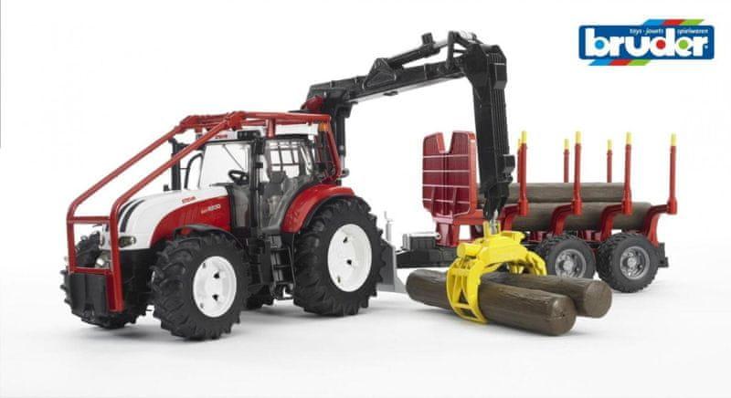 Bruder Steyr CVT 6230 Lesní traktor s přívěsem
