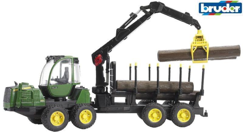 Bruder John Deere 1210E lesní traktor s ramenem