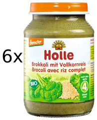 Holle Bio Brokolice s celozrnnou rýží - 6x190g