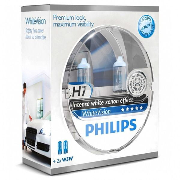 Philips WhiteVision H7, 12 V, 55 W, 2 ks