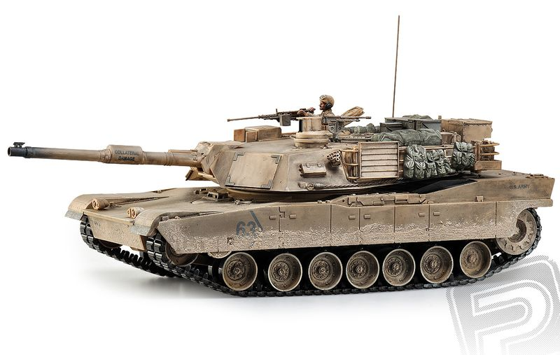 Hobby Engine RC Tank - M1A2 Abrams 1:16, 2.4GHz, patinovaný