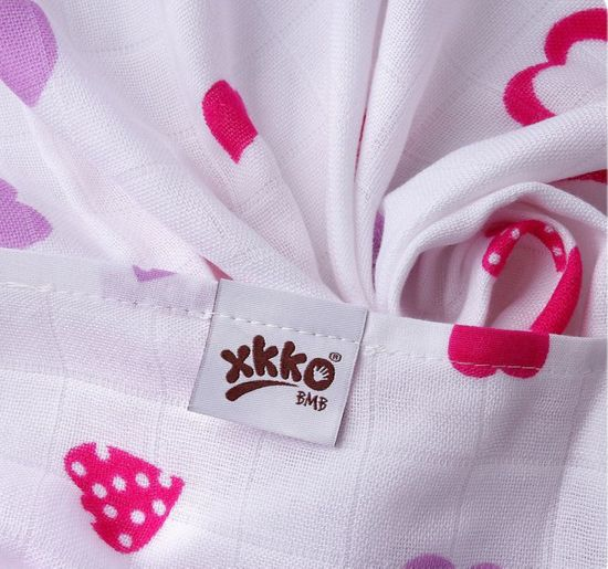 XKKO Bambusové pleny 70x70cm, 3ks, Hearts&Waves Lilac Mix