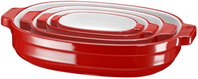 KitchenAid Pekáč keramický - set 4ks, červená