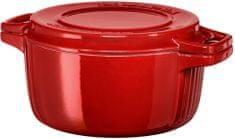 KitchenAid posoda s pokrovom, premer 24 cm, rdeča
