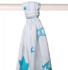 XKKO Pielucha bambusowa 90x100 cm, Turquoise Stars