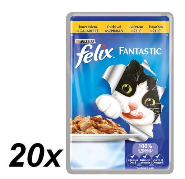 Felix Fantastic kapsička s kuřetem v želé 20 x 100g