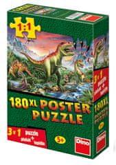 DINO Puzzle XL Dinosaury + plagát + lepidlo