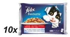Felix mokra hrana za mačke Multipack, govedina in piščanec v želeju, 10 x (4x100g)