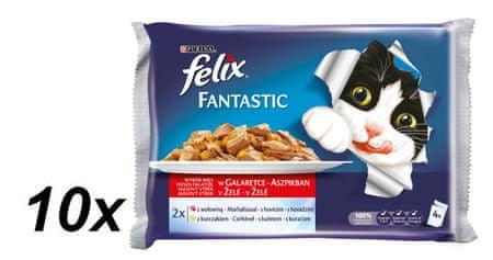 Felix saszetki dla kota FELIX multipack - wołowina i kurczak w galaretce, 10x (4 x 100g)