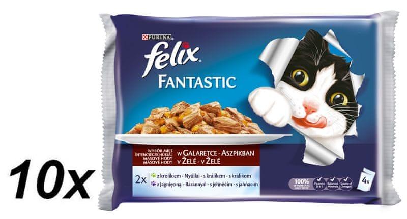 Felix Fantastic masové hody s králíkem a jehnětem v želé 10 x ( 4 x 100 g)