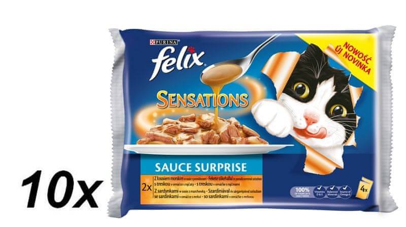 Felix Sensations Sauce Surprise se sleděm v rajčatové omáčce a sardinky v mrkvové omáčce 10x (4x100g)