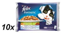 Felix Fantastic hal-zöldséges macskaeledel - 10 x (4 x 100 g)
