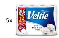 Veltie Pure and Soft 3-slojni toaletni papir, 5 x 12 rolic