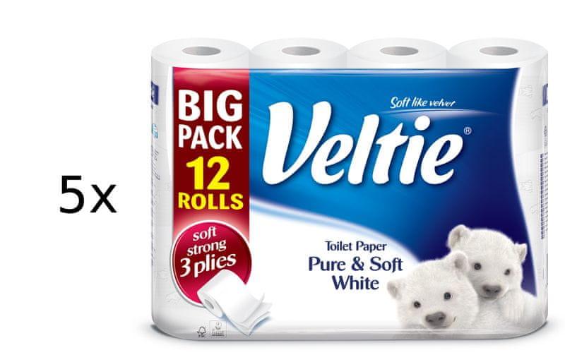 Veltie Delicately 3-vrstvý bílý, 5 x 12 rolí