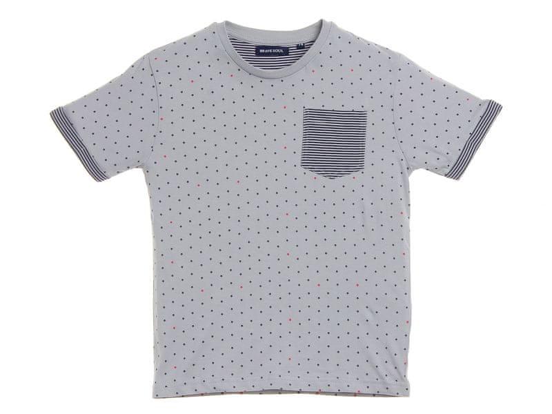 Brave Soul chlapecké tričko Tesla s puntíky 140 stříbrná