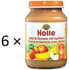 Holle Bio Jablko a banán s meruňkami - 6 x 190g