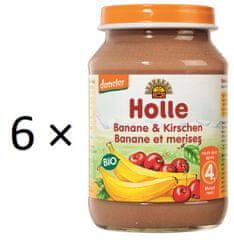 Holle Bio banán a třešně - 6 x 190g