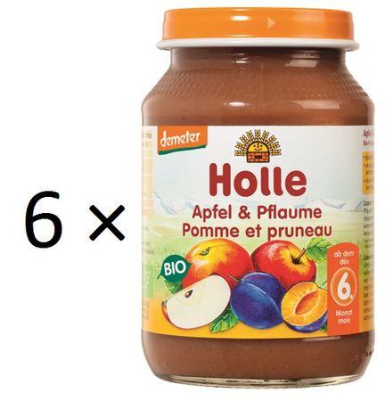 Holle Bio Jablko a švestka - 6 x 190g