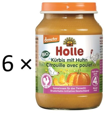 Holle Bio Dýně s kuřecím masem - 6 x 190g