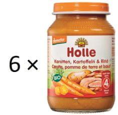 Holle Bio Mrkev, brambor a hovězí maso - 6 x 190g