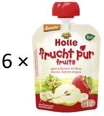 Holle Bio ovocné pyré jablko, banán, hruška - 6 × 90g
