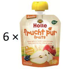 Holle Bio ovocné pyré hruška, jablko, čučoriedky s vločkami - 6 × 90g