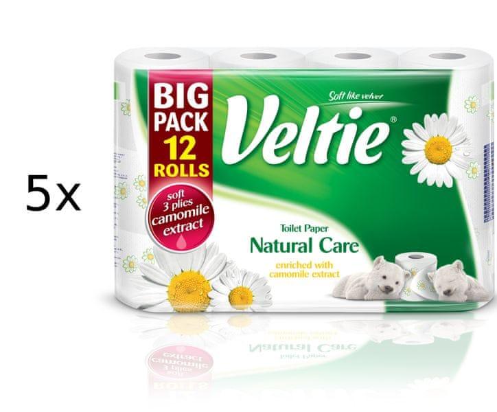 Veltie Natural Care 3-vrstvý Heřmánek, 5 x 12 rolí