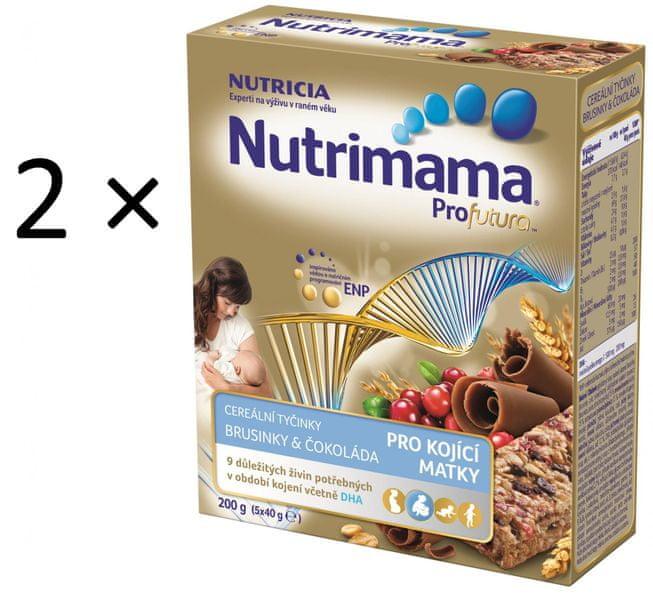 Nutrilon Nutrimama Cereální tyčinky brusinka/čokoláda 2 × 200 g