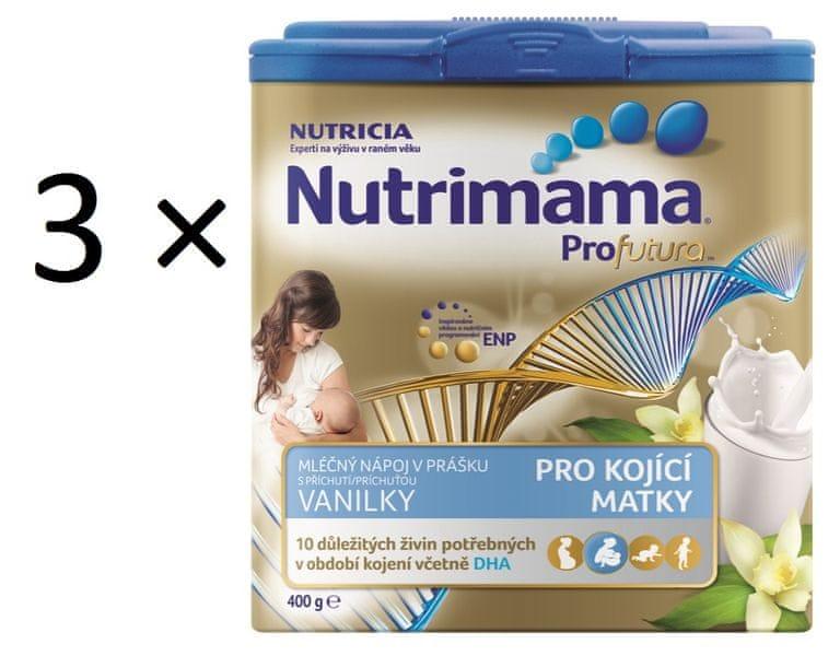 Nutrilon Nutrimama mléčný nápoj v prášku, vanilka - 3×400g