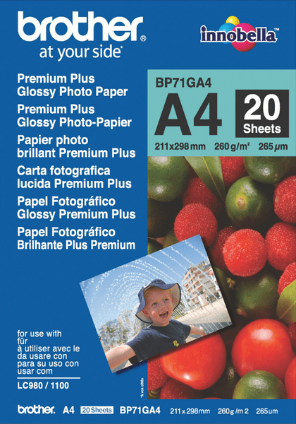 Brother fotopapír premium Glossy BP71GA4 A4 20 ks
