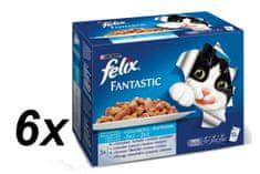 Felix mokra hrana za mačke Multipack, riba, 6 x (12 x 100 g)