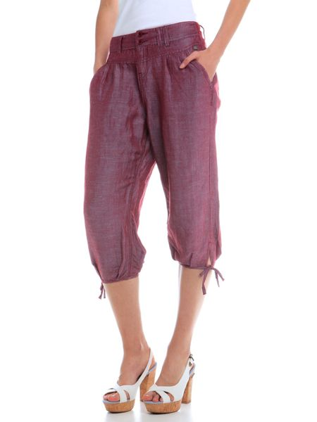 Timeout pohodlné dámské 3/4 kalhoty volnějšího střihu 36 vínová