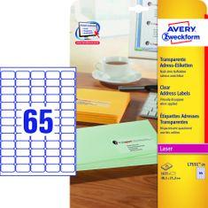 Avery Zweckform etikete L7551-25, 38,1 x 21,2 mm, prozorne, 25 listov