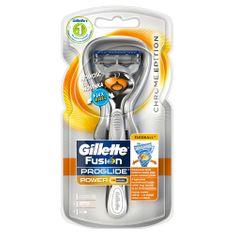 Gillette Fusion Proglide Chrome Edition Bateriový holicí strojek s technologií Flexball + hlavice 1ks