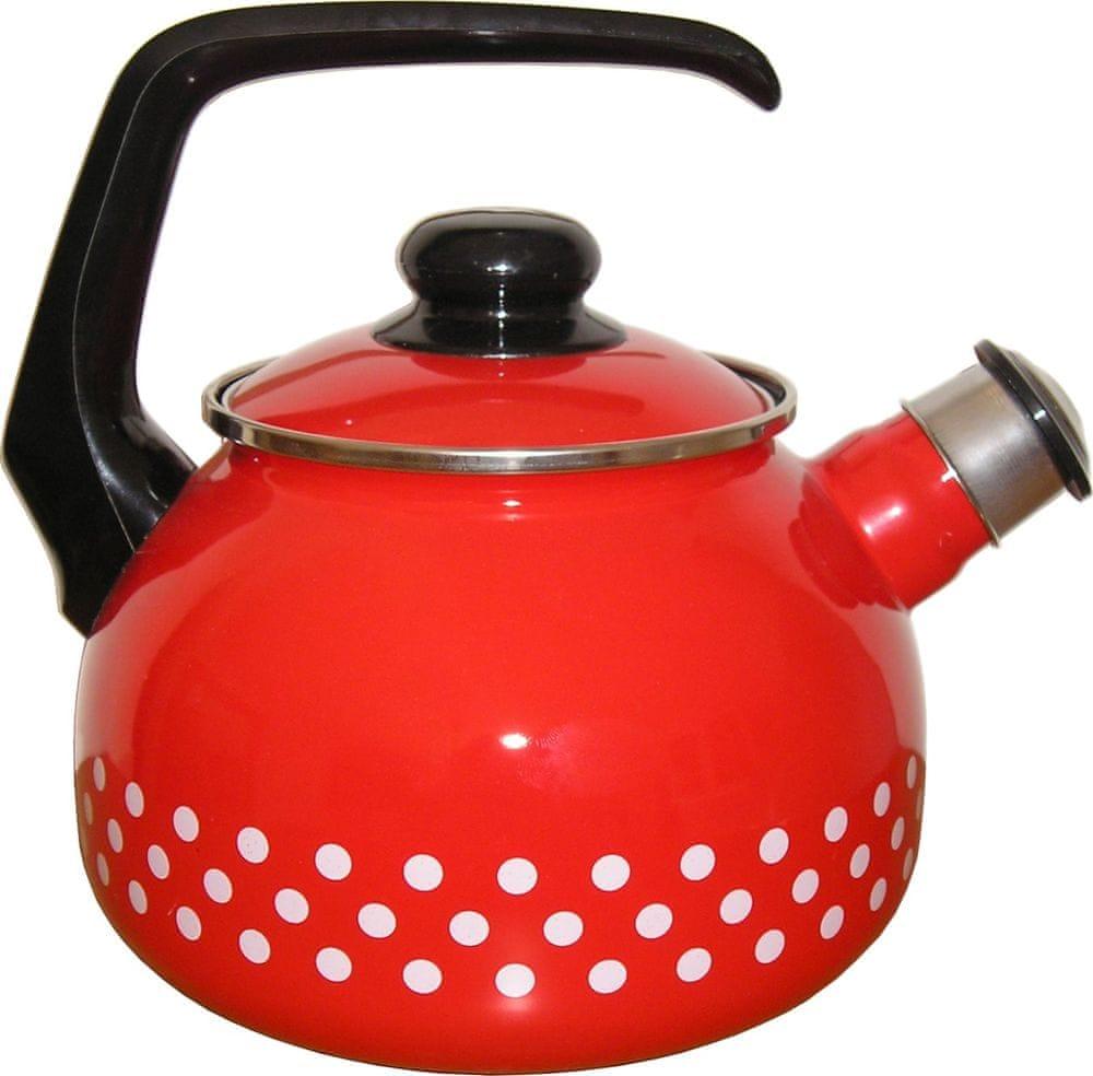 Metalac Čajová konvice s píšťalkou červený puntík, 2 litry