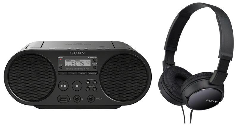 Sony ZS-PS50B + MDR-ZX110B (Black)