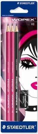 Staedtler svinčnik 180, HB, 3/1, črno-roza + radirka