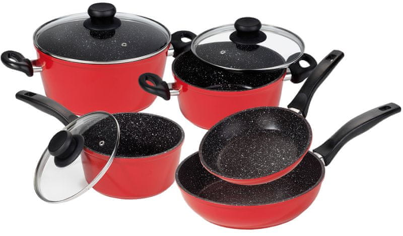 Stoneline Sada nádobí s mramorovým povrchem 8ks, červená