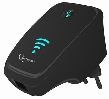 Gembird Ethernet WiFi repeater router, Fekete