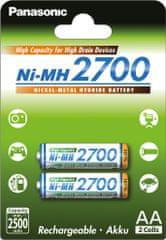 Panasonic AA High Capacity 2700 (BK-3HGAE/2BE), 2ks