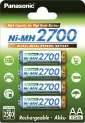 PANASONIC AA High Capacity 2700 (BK-3HGAE/4BE), 4ks