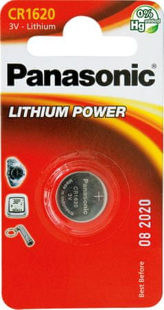 Panasonic baterija Lithium CR1620L, 3V, 1 kos